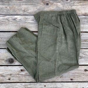 FLAX Olive Green Elastic Waist Linen Pants Med.